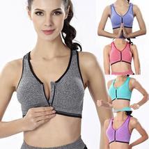 Women Sport Bra Running Gym Yoga Padded Fitness Tops Tank Workout Zipper... - $21.95