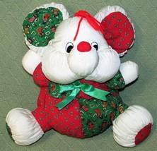 "10"" Vintage MTY International Nylon Plush Christmas Mouse White Red Gree... - $17.82"