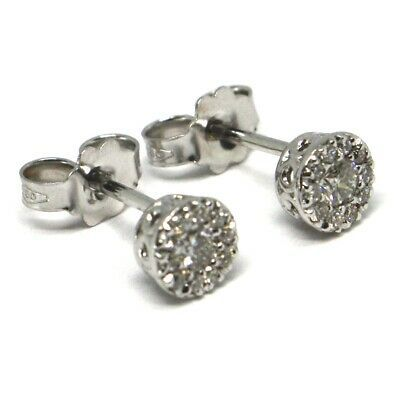 18K WHITE GOLD EARRINGS, CENTRAL AND FRAME DIAMONDS, FLOWER, 0.26 CARATS