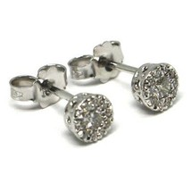 18K WHITE GOLD EARRINGS, CENTRAL AND FRAME DIAMONDS, FLOWER, 0.26 CARATS image 1