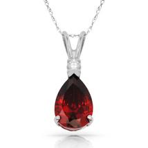 3.05 CT Garnet Pear Shape 2 Stone Gemstone Pendant & Necklace 14K W Gold - $147.51