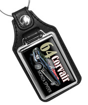 1964 Black Chevy Corvair Monza Spyder Convertible Faux Leather Key Ring  - €9,82 EUR