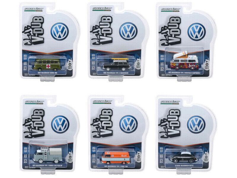 Greenlight Vee V-Dub Series 8 Set of 6 Cars 1/64 Diecast Model Cars