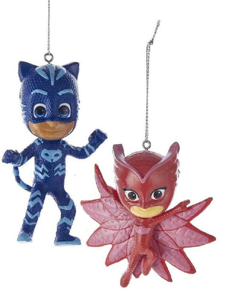 Set of 2 Kurt S. Adler PJ Mask Owlette Catboy Christmas Tree Blow Mold Ornaments