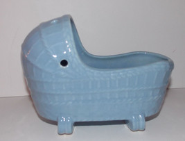 "McCoy Pottery Blue Cradle Planter 7.5"" Rocking ... - $29.99"