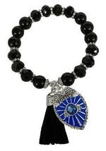 Police Policeman Badge Black Glass & Stone Bead Tassel Stretch Bracelet Jewelry - $15.83