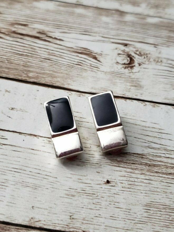 Primary image for Vintage Clip On Earrings Silver Tone Rectangle