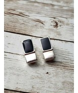 Vintage Clip On Earrings Silver Tone Rectangle - $10.99