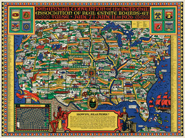1926 Pictorial USA Map NAR National Association of Real Estate Boards Gift Print - $13.00+