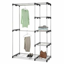 Closet Storage Organizer: 5 Shelves 2 Garment Rods Portable Free Standing - $72.82