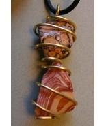 Handcrafted Wonderstone and Orbicular Jasper Brass Wire Wrap Adjustable ... - $19.99