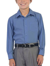 Boy's Classic Fit Long Sleeve Button Down Toddler Kids Blue Dress Shirt 12 image 3