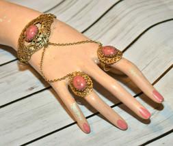 vintage slave bracelet Chain ring gold tone filigree coral tone cab cabochon - $98.99