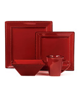16 Piece Square Beaded Stoneware Dinnerware set by Lorren Home Trends, Red - $75.00