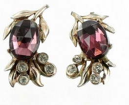 ANTIQUE PASTE RHINESTONE DECO FAUX AMETHYST SILVER TONE SCREW BACK EARRINGS - $48.59