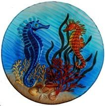 Seahorse Scene 12 inch Art Glass Platter - $54.48