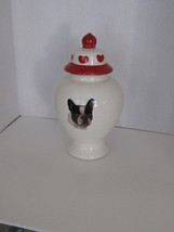 French Bulldog Ceramic Treat Jar Decorated with Hearts. - $49.98
