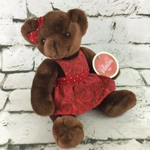 Commonwealth Teddy Bear Valentines Plush In Red Rose Dress Stuffed Anima... - $14.84