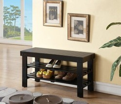 NEW Black Wooden Shoe Bench Solid Wood Organizer Storage Rack Entryway S... - $69.20