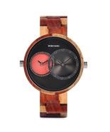 Bobo Bird Men's Wooden Quartz Dual Time Zone Wrist Watch R10-2 - $43.00