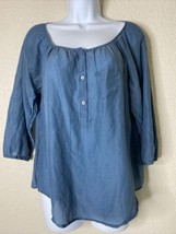 Ann Taylor LOFT Womens Size S Blue Button Neck Blouse 3/4 Sleeve - $9.90