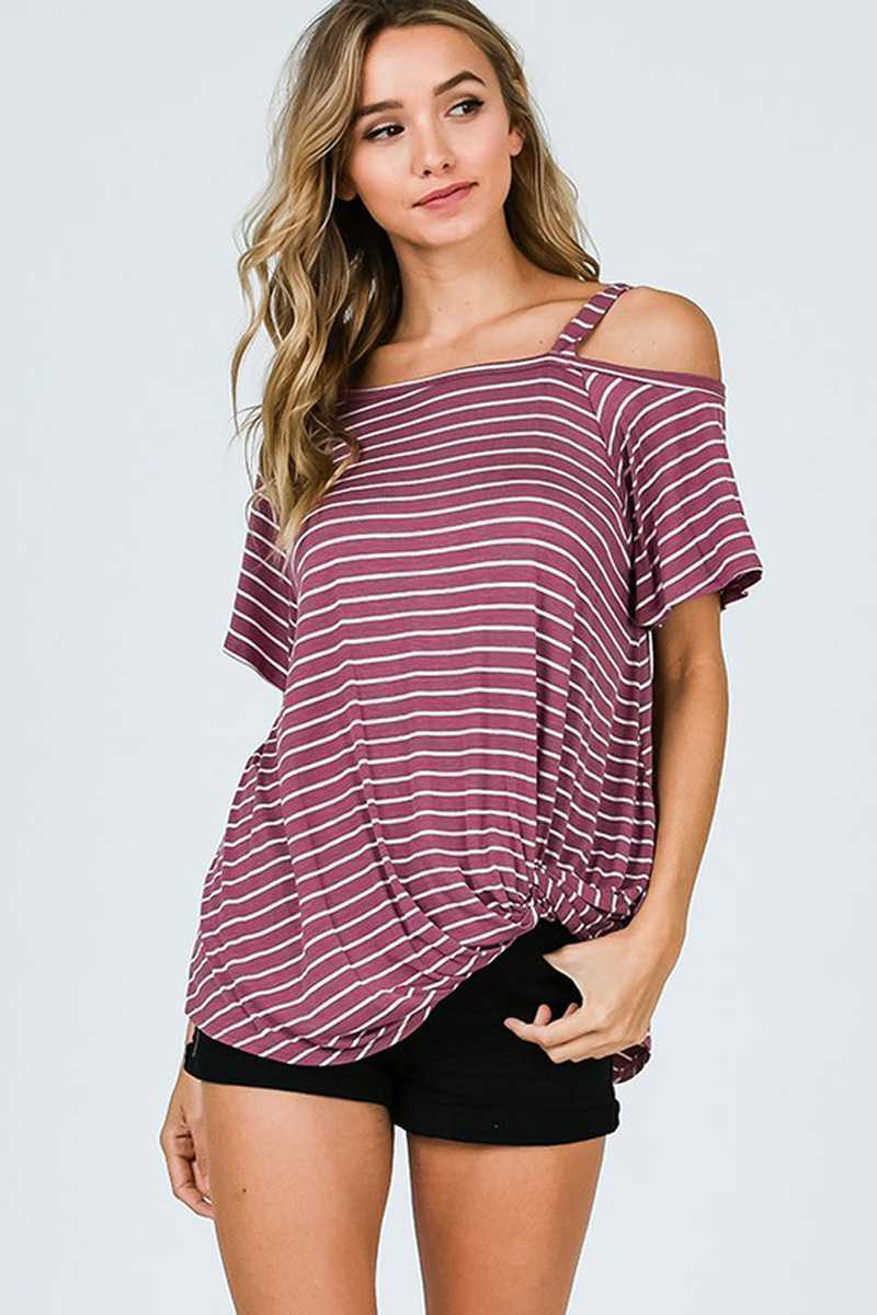 Women stripe Open Shoulder Top