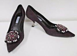 PRADA MILANO Purple Suede Jewel-Medallion Pump w/ Silver Kitten Heel - S... - $229.99