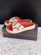 ✨New VINCE CAMUTO Carran Platform Slide Sandals Red Stripe Women Size 7M $89 NIB - $42.08