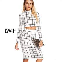 Black and White Plaid Long Sleeve Crop Top and Pencil Skirt Twopiece - $23.99