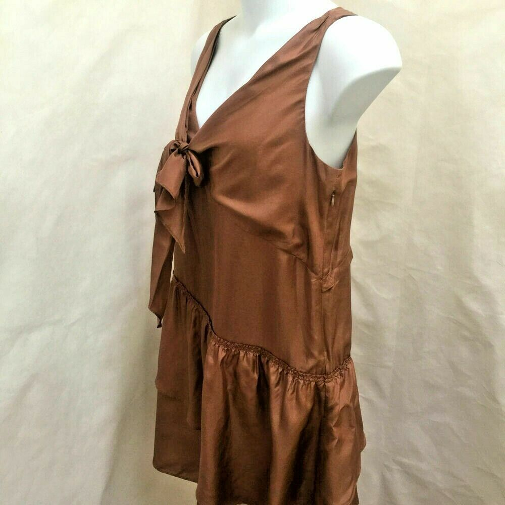 J Crew 12 Effie Scarf Dress Brown Sepia Silk Tie Sleeveless Tiered Asymmetric image 3