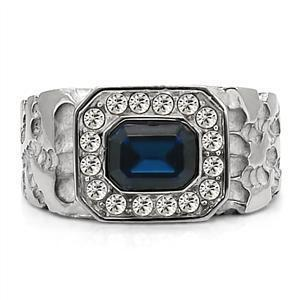 Men's Stainless Steel Ring with Montana CZ and Clear Crystal