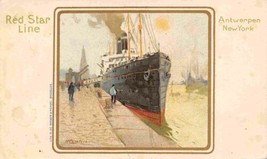 Red Star Line Steamer Ship Antwerp New York Private Mailing Card postcard - $7.87
