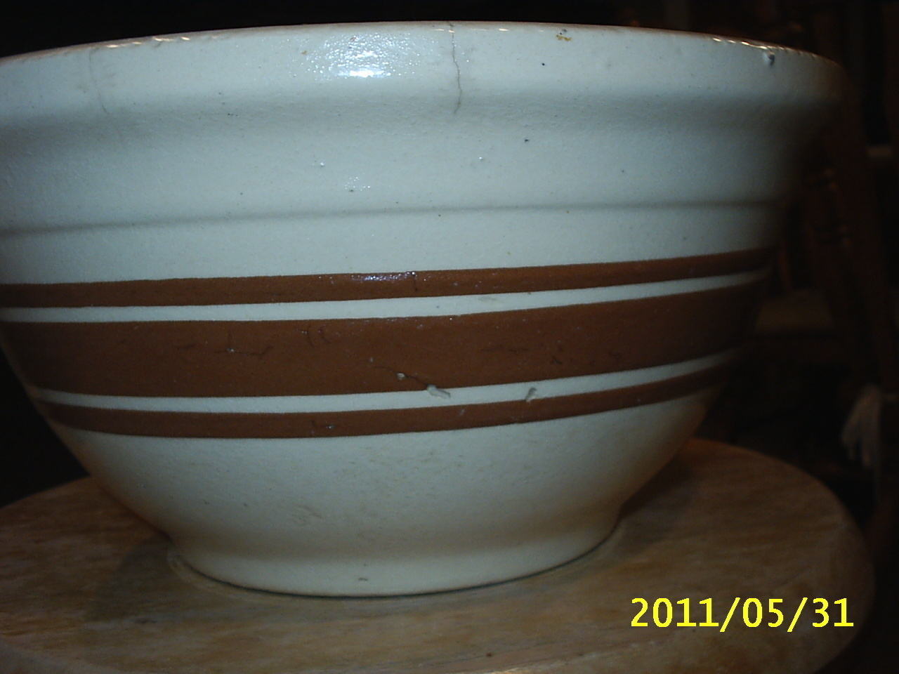 "Primary image for Vintage Yellow Ware? Small Mixing Bowl Pottery 7"" x3 1/2"" Brown Stripes OvenWare"