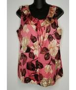 TALBOTS Women's Pink Ruffled Floral Silk Stretch Shirt Top Blouse 10 Sle... - $19.99