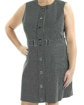 Michael Kors Black White Checked Front Snap Button Mini Dress Size 14 NEW $195 image 4