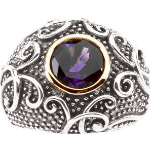 Amethyst 14K Gold Sterling Silver Dome Ring MADE IN USA