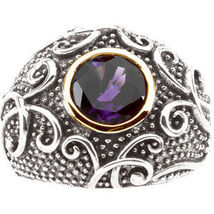Amethyst 14K Gold Sterling Silver Dome Ring MAD... - $139.00