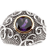 Amethyst 14K Gold Sterling Silver Dome Ring MADE IN USA - $139.00