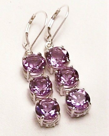 Amethyst 3-Stone Sterling Silver Dangle EarringS MADE IN USA