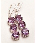 Amethyst 3-Stone Sterling Silver Dangle EarringS MADE IN USA - $195.00