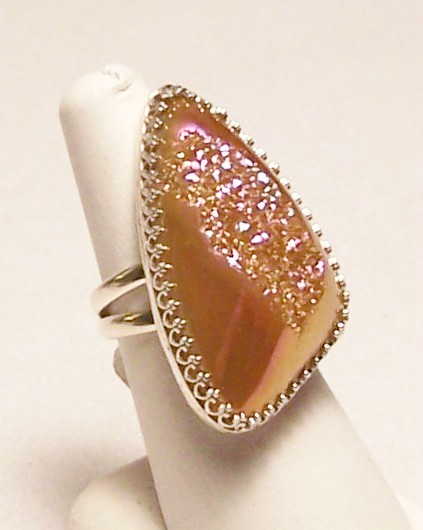 Azalea Pink Druzy Quartz Sterling Silver Ring SZ 7.5 Artisan MADE IN USA OOAK