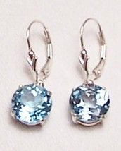 Blue Topaz Sterling Silver Leverback Earrings 10mm MADE IN USA - $155.00