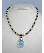 Freshwater Pearl Necklace with Black Swarovski Crystals, and Pendant with 22k go - $69.00