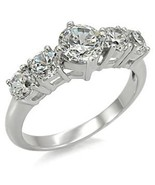 1.5ct Clear 5-Stone CZ Engagement Wedding Ring, Stainless Steel, Selecta... - $22.99