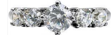 1.5ct Clear 5-Stone CZ Engagement Wedding Ring, Stainless Steel, Selectable Size