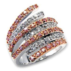 Pink And Clear CZ Cocktail Pave Ring,  Rose Gold , Two Tone, Size 5,6,7,8,10