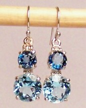 Blue Topaz Sterling Silver Earrings 8.0 ct Sky Blue London Blue MADE IN USA - $155.00