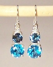 Blue Topaz Sterling Silver Earrings 8.5 cttw London Blue Swiss Blue MADE... - $165.00