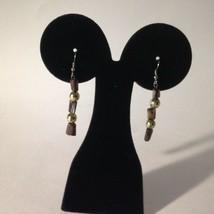 "Pierced Dangle Earrings Brown Pearl & Resin 2.5""  w/Gift Box   - $6.20"