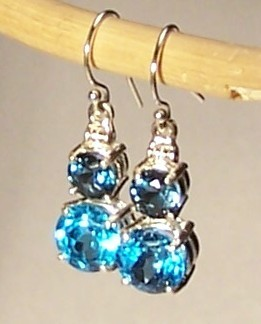 Blue Topaz Sterling Silver Earrings 8.5 cttw London Blue Swiss Blue MADE IN USA